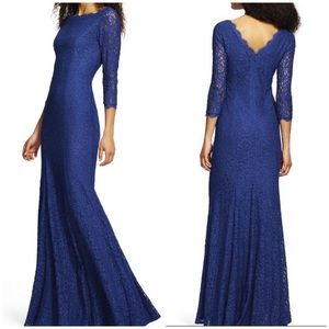 Adrianna Papell Long Blue Lace Long Sleeves Gown 6